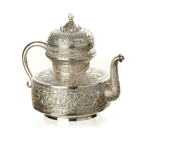 An Indian silver tea pot  19th century