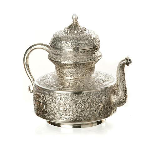 An Indian silver tea pot  19th century