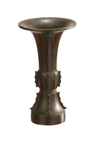 A Chinese bronze flaring beaker vessel, gu  19th/ 20th century
