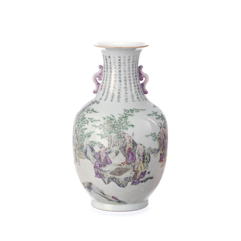 A Chinese famille rose vase  Late Qing or Republic