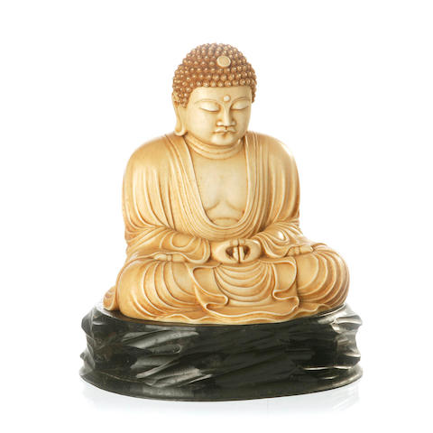A Japanese carved ivory figure of Amida Buddha 19th century