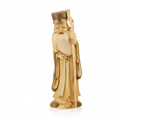 A carved ivory figure of Shouxin 19th century