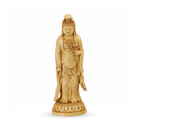 A carved ivory figure of Guanyin 19th century
