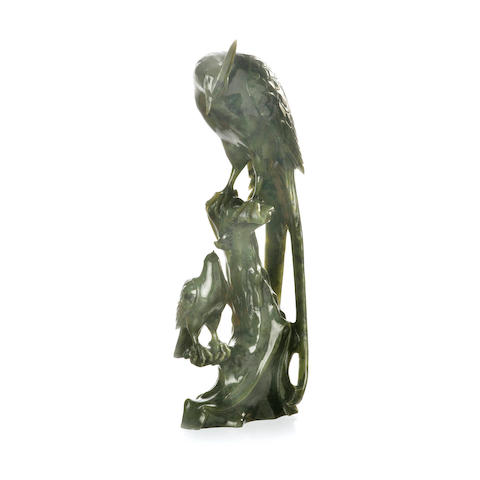 A carved spinach jade statue of eagles 20th century