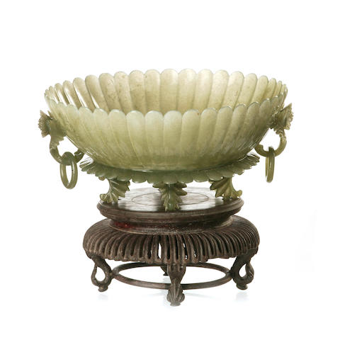 A carved dark celadon jade Mughal-style 'chrysanthemum' bowl 20th century