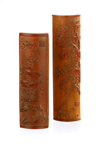 Two carved bamboo wrist-rests 19th/ 20th century