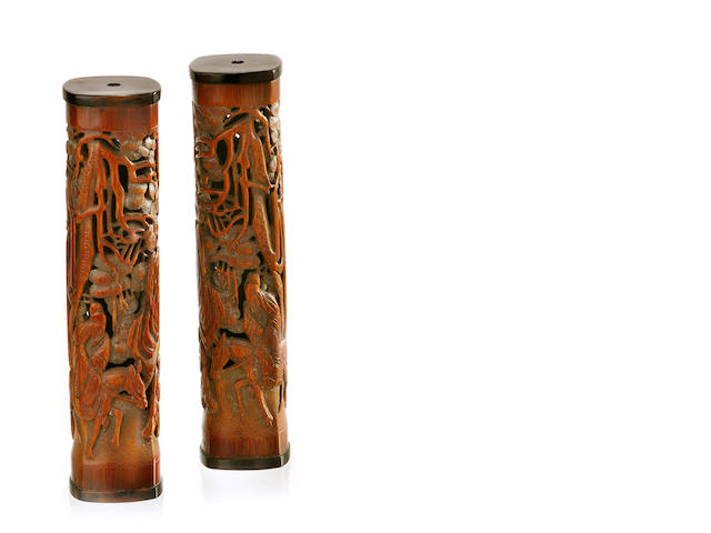 A pair of bamboo incense dispensers 19th/ 20th century