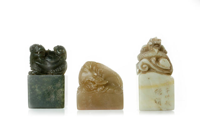 A set of three hardstone seals Late 19th/ 20th century