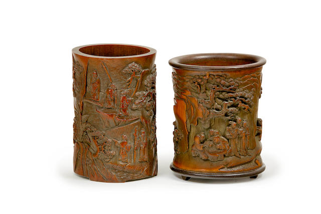 Two carved bamboo brush pots 20th century