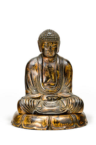 A Japanese carved gilded wooden figure of Buddha Sakyamuni  19th/20th century