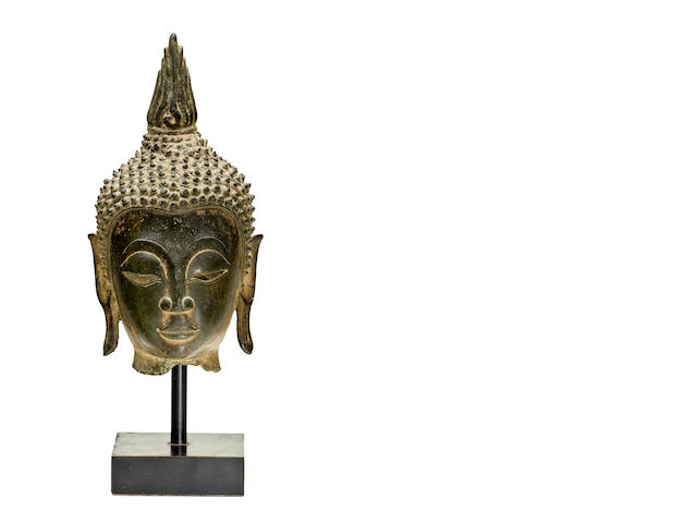 A bronze head of Buddha Laos, 16th/17th century