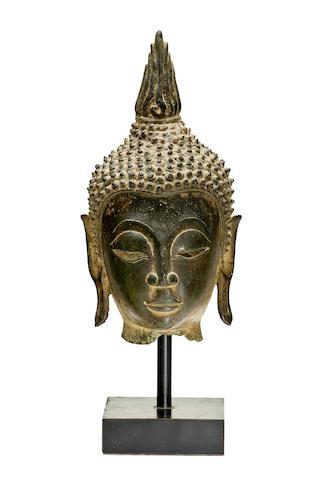 A bronze head of Buddha Laos, 16th/17th century