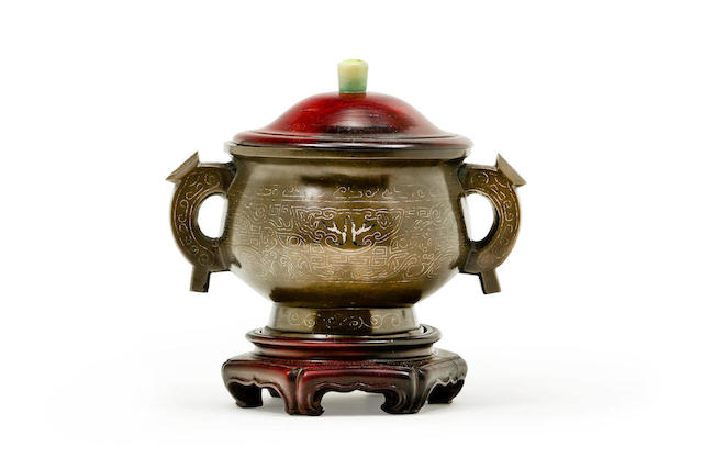 A Chinese silver inlaid bronze censer, gui 18th/19th century
