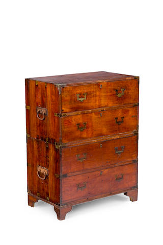A 19th century teak and brass bound campaign chest of drawers