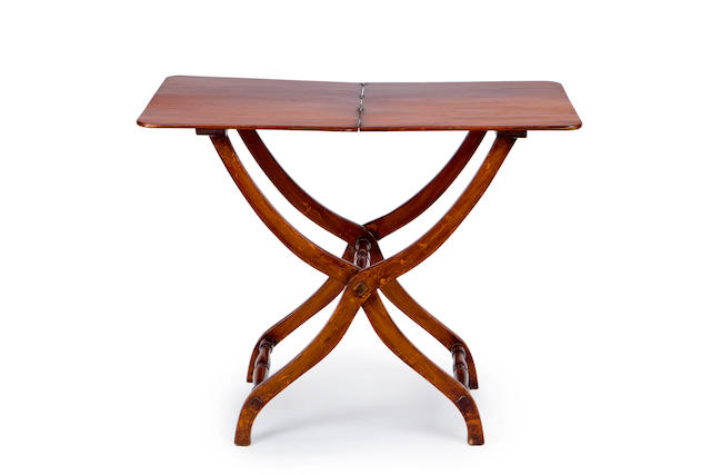 An Edwardian mahogany Campaign folding occasional table