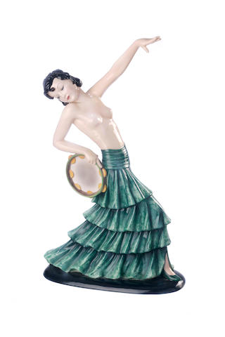 A Goldscheider figure of a dancer with tambourine 1937