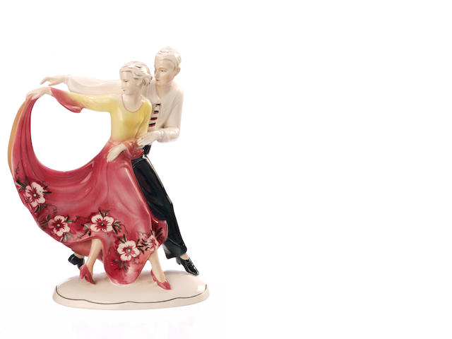 A German figure group of a dancing couple circa 1930