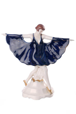 A Royal Dux figure of a dancer after Goldscheider The Captured Bird   circa 1950