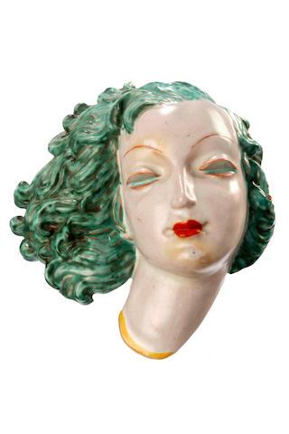 A Goldscheider terracotta mask  circa 1936