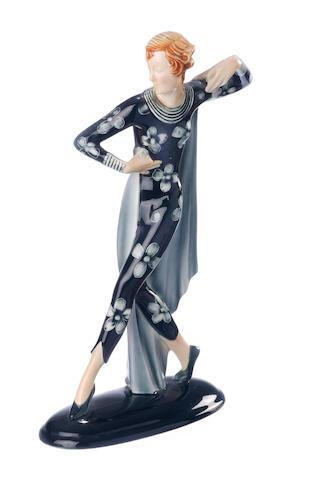 A German porcelain figure of a dancer circa 1937