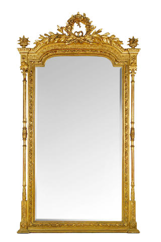 A large 19th century French giltwood wall mirror