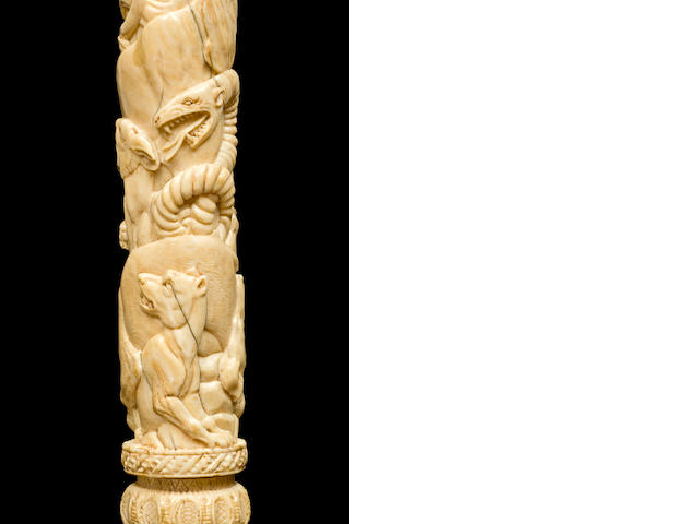 An unusual French 18th century carved ivory ceremonial mace