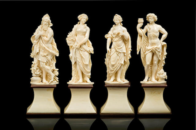 Workshop of Jean Antoine Belleteste, French (1718-1811)A set of four ivory allegorical figures depicting The Four Seasons