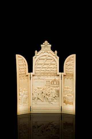 A French 19th century carved and tinted ivory triptych, possible Dieppe