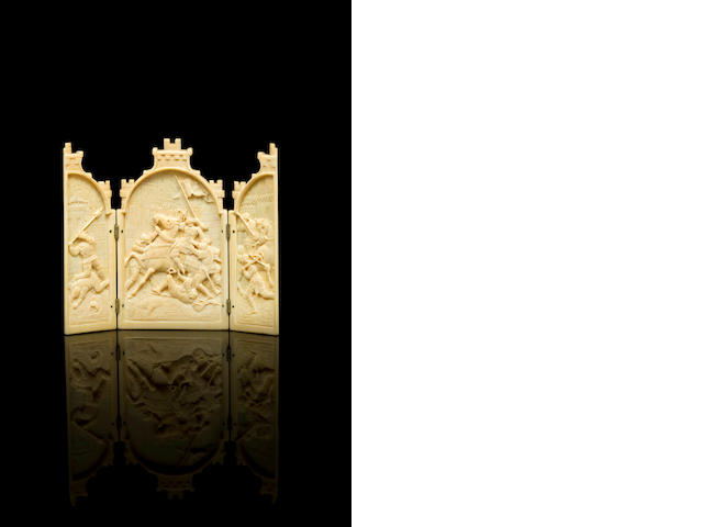 A small French 19th century carved ivory triptych, possibly Dieppe
