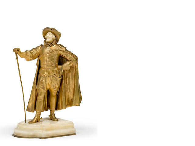 A French late 19th century bronze and ivory figure of a cavalier