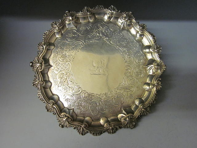 A George IV silver salver by Barak Mewburn London 1827