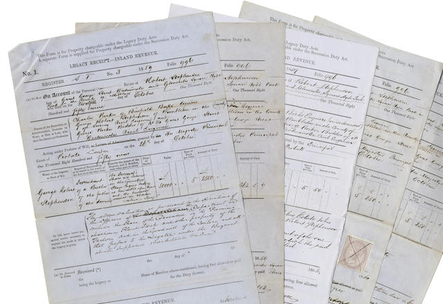 STEPHENSON (ROBERT) Series of some seventy Legacy Receipt forms for the estate of Robert Stephenson, 1859-1866