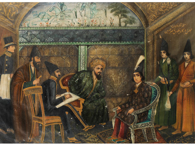 Persian School An allegorical scene  subject to further research
