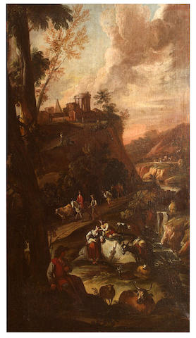 Dutch Landscape Scene (Possibly Roos), 17th century Dutch Travelers Scene