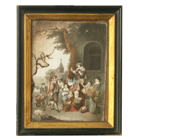 A Flemish 18th century  painted ivory panel