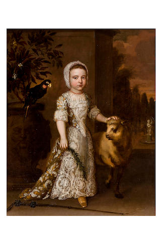 Circle of Sir Godfrey Knellor (1646 – 1723) Portrait of Girl as Shepherdess