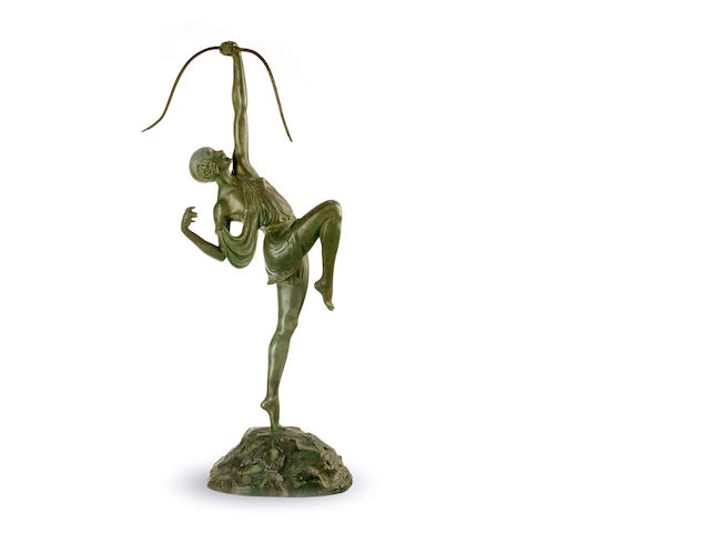 Pierre Le Faguays (French, 1892-1962)A bronze figure of Diana The Huntress