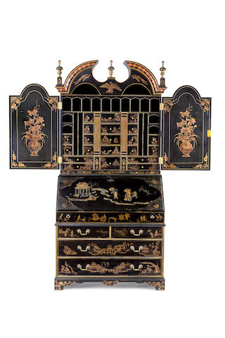 A good 20th century black Japanned bureau bookcase in the George II style by Maitland-Smith Limited