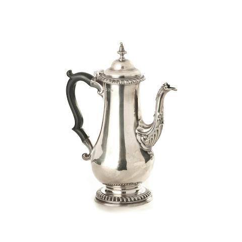 A George III silver coffee pot, maker's mark I*B, possibly James Baker or John Broughton, see Grimwade entry 3617, London 1766,