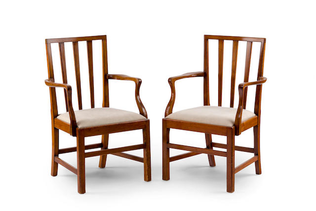 A pair of George III style mahogany armchairs English 19th century