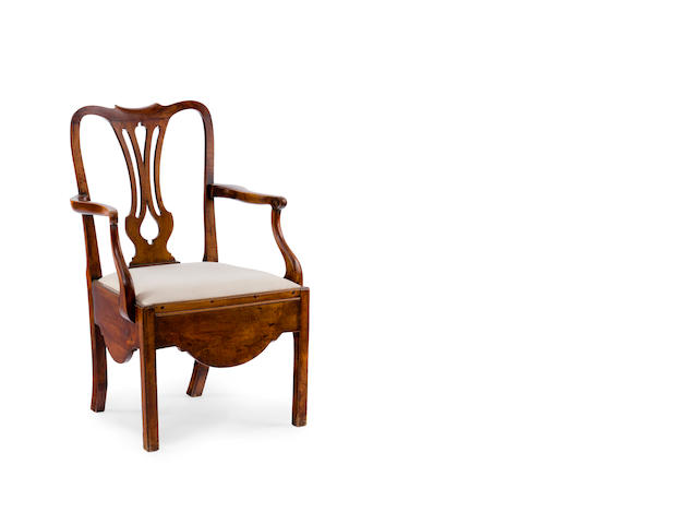 A George III mahogany commode chair