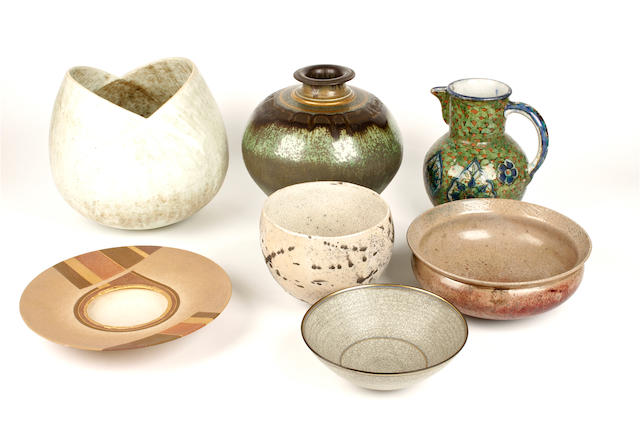 A group of studio pottery