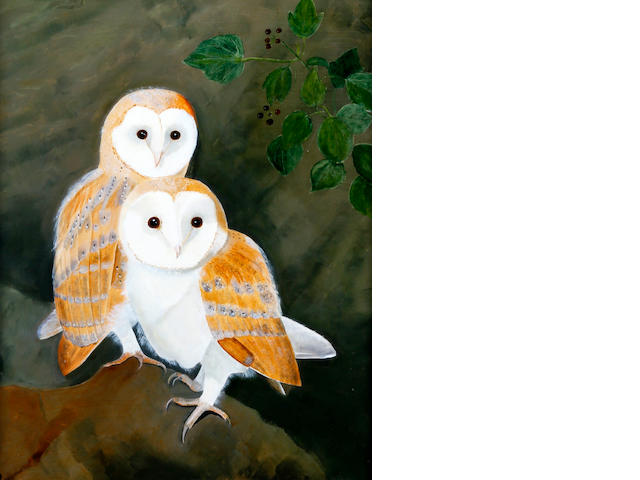 Lesley Valentine (20th century) 'Pair of Owlets'