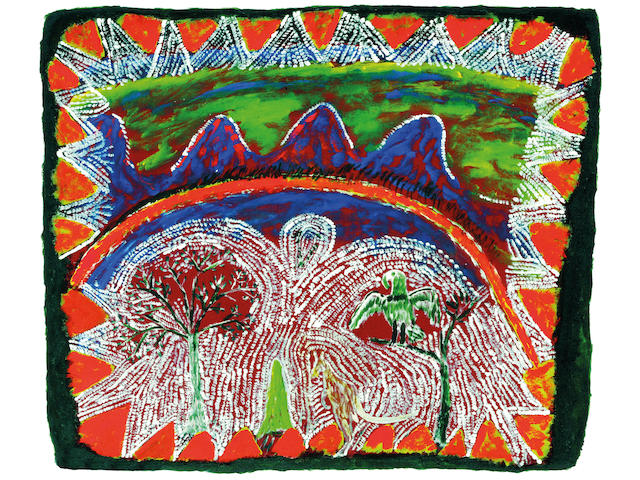 Ginger Riley Munduwalawala (circa 1936-2002) Ngak Ngak and the Four Arches