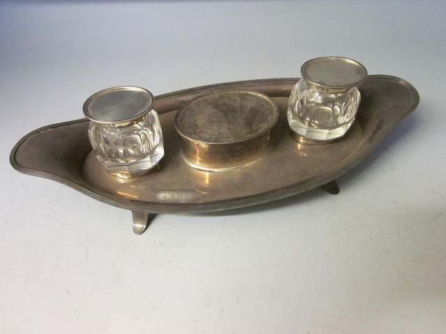 A George V oval silver inkstand, Elkington & Co, Birmingham 1912,