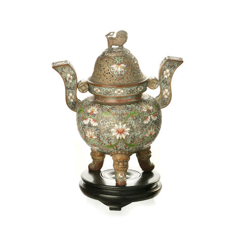 A Chinese cloisonné tripod ding vessel 19th/ 20th century