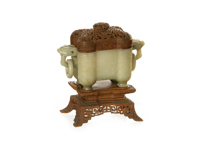 A pale green jade incense burner with wooden lid 20th century
