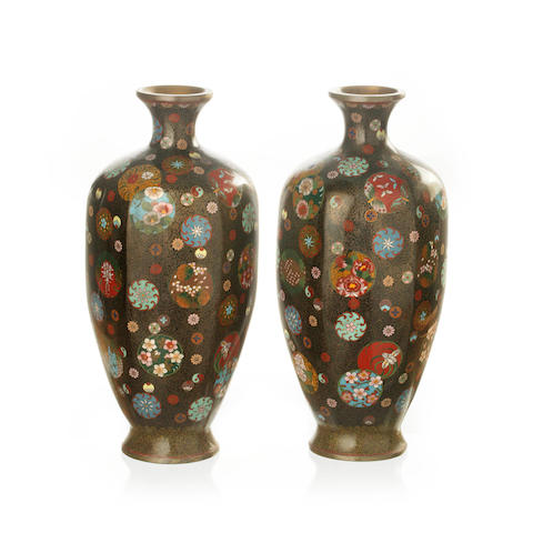 A pair of hexagonal Japanese cloisonné vases Meiji period
