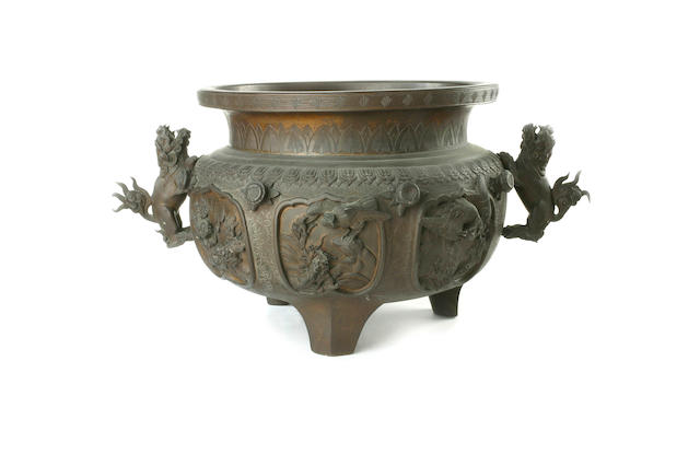 A large Chinese bronze tripod censer 19th century