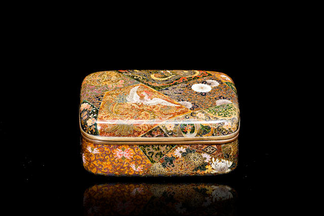 A Japanese cloisonné box and cover Meiji Period